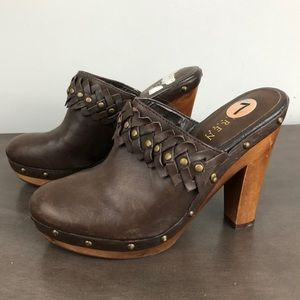 Ralph Lauren Brown Leather wooden Clogs Mules